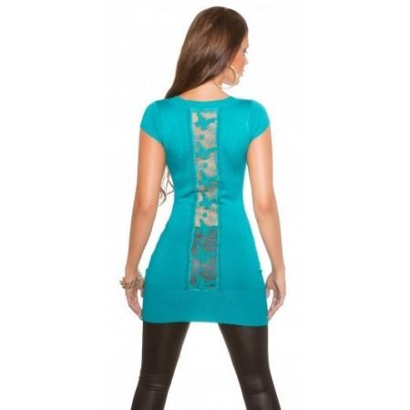 Maglia maglietta top attillata t-shirt lunga basic color in pizzo velato