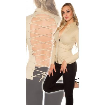 Camicia maniche lunghe aderente sexy scollo schiena con lacci intrecci