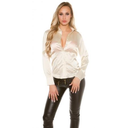 Camicia da donna camicetta satinata raso maniche lunghe bottoni