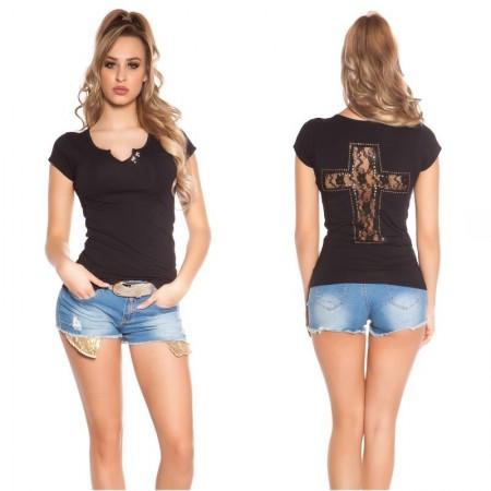 T shirt maglia maglietta top scollo a v aderente estiva in pizzo