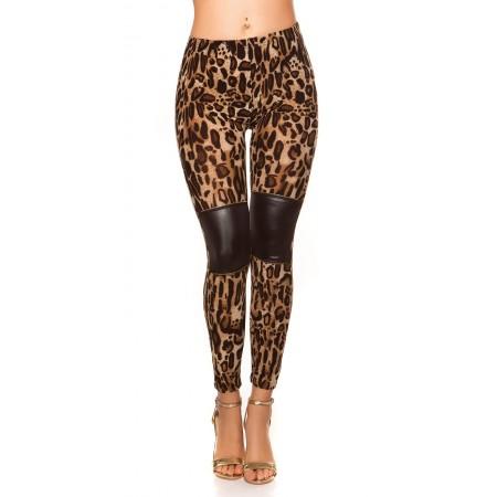 Pantalone da donna leggings pantacolant aderente leopardato in pelle vita bassa