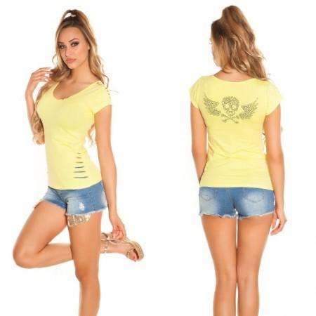 T-shirt maglia maglietta top canotta attillata borchie strass glitter