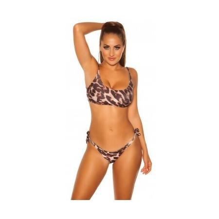 Bikini da donna top spalline regolabili top push up sexy leopardato neon mare
