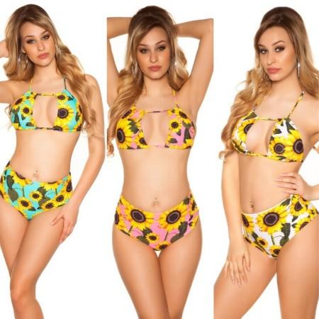 Bikini costume moda mare due pezzi triangolo con spalline slip beachwear vita alta