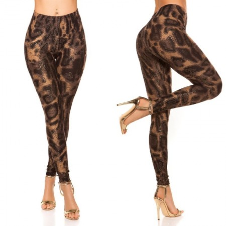 Leggins pantalone pantacollant vita alta leopardato maculato leggings