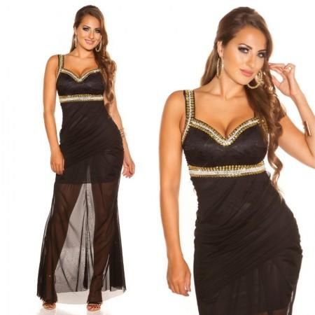 Abito da sera elegante per cerimonia nero in chiffon lungo dress vestito
