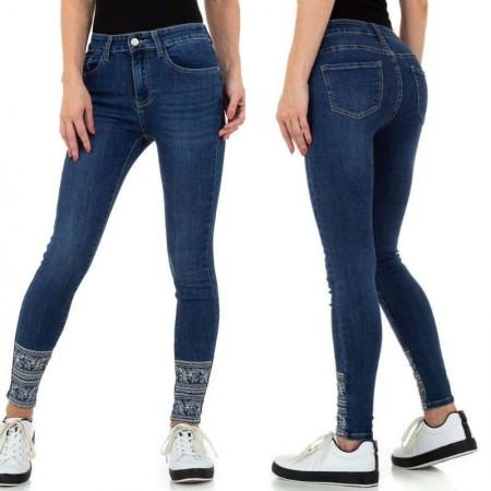 Jeans pantalone pantacollant in denim blue pailettes scuro skinny sexy