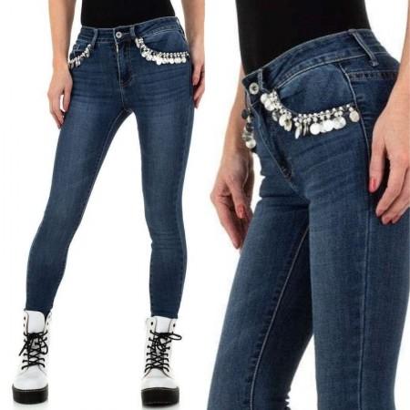 Jeans pantalone pantacollant in denim blue scuro skinny sexy