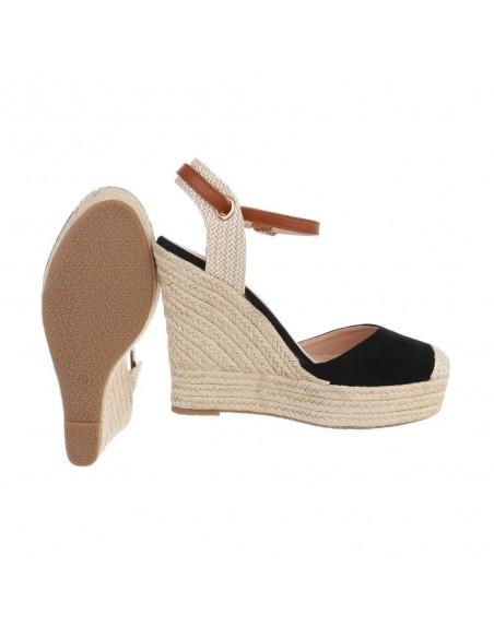 Sandali espadrillas scamosciati con zeppa alta e plateau cinturino alla caviglia regolabile