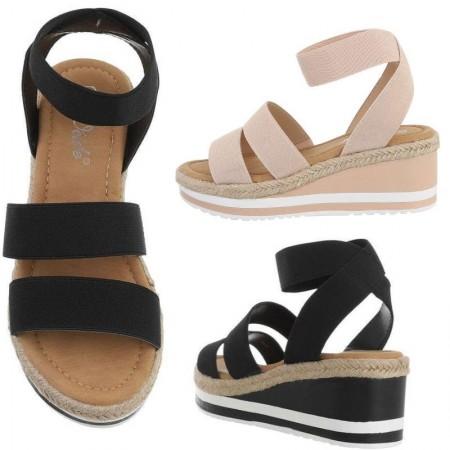 Scarpe sandali sandaletti spuntati zeppa bassa plateau elasticizzati
