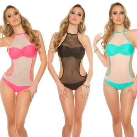 Costume bikini monokini costume intero a rete push up schiena scoperta