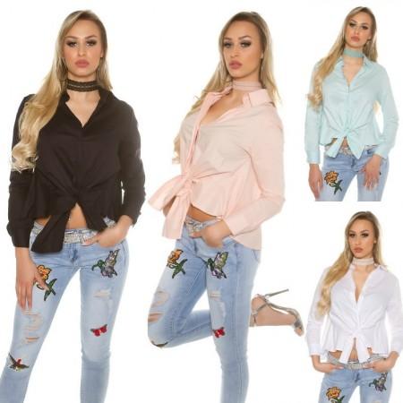 Camicia camicetta blusa in stoffa raso chiffon con nodo top crop corta