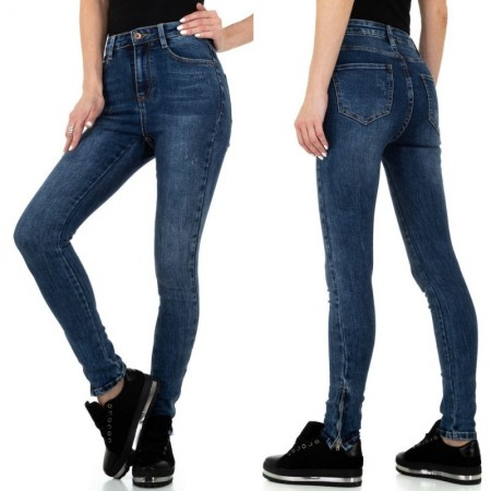 Jeans scuri a vita alta elasticizzati effetto consumai skinny push up slim fit