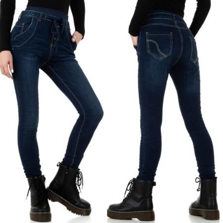 Jeans scuri a vita alta elasticizzati skinny slim fit con laccio in vita