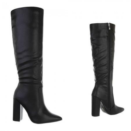 Stivali sotto al ginocchio in ecopelle con effetto pieghe tacco alto largo piatto e zip laterale
