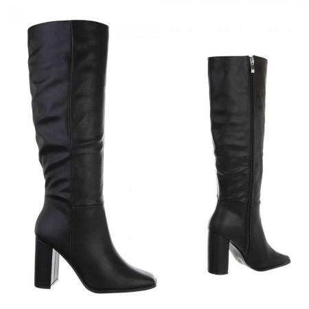 Stivali in ecopelle donna altezza sotto al ginocchio effetto pieghe con tacco alto piatto largo e zip laterale