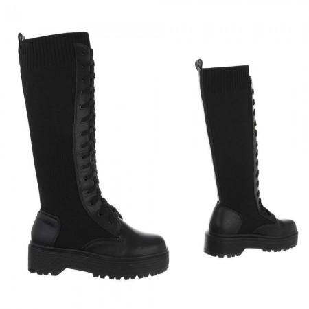 Stivali sotto al ginocchio in ecopelle e in maglia elasticizzata con chiusura stringata e zeppa bassa platform