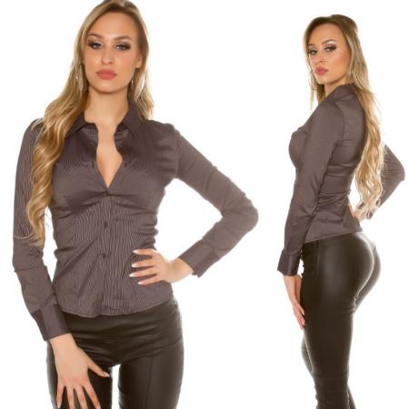 Camicia donna blouse maglia maglietta top elegante da ufficio nero camicetta