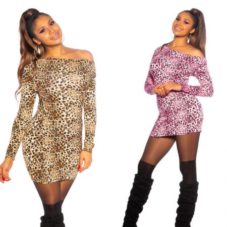 Abito vestito minidress tubino maniche lunghe donna animalier leopardato
