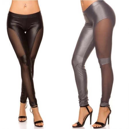 Leggings pantalone pantacollant in similpelle eco nero comfy  leggins bianco