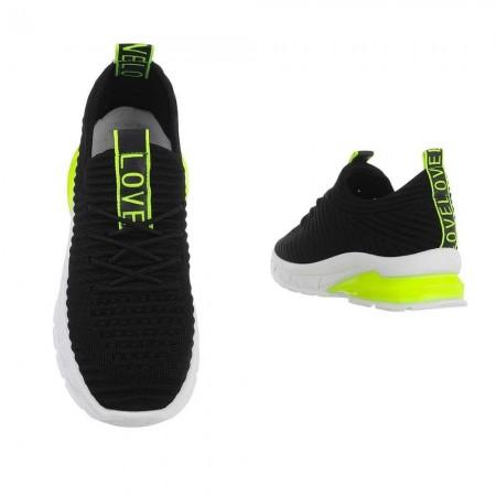 Sneakers in tela nere sportive da ginnastica con suola alta dettagli neon con lacci