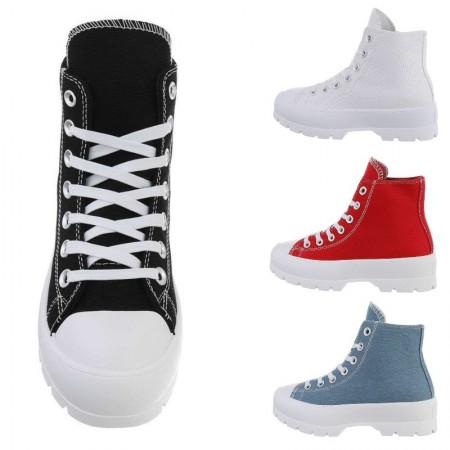 Sneakers alte in stoffa alte alla caviglia con lacci e zeppa Platform
