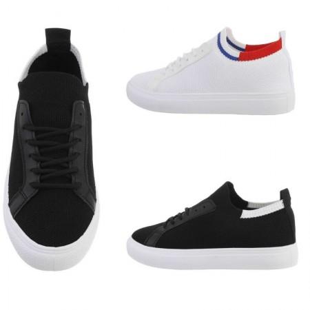 Sneakers casual basse sportive in tela con dettagli in ecopelle stringate