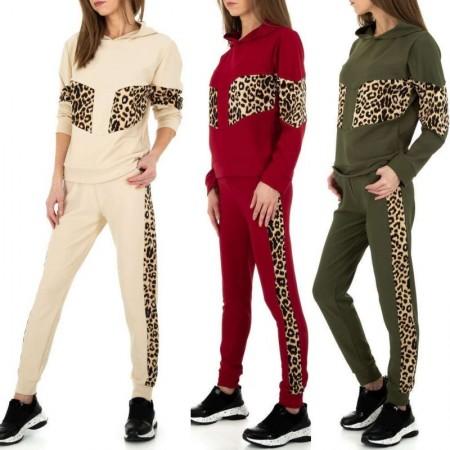 Tuta sportiva due pezzi donna dettagli leopardati pantaloni felpa con cappuccio casual