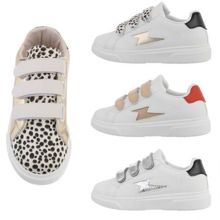 Sneakers basse casual dettagli animalier in ecopelle chiusura a strappi