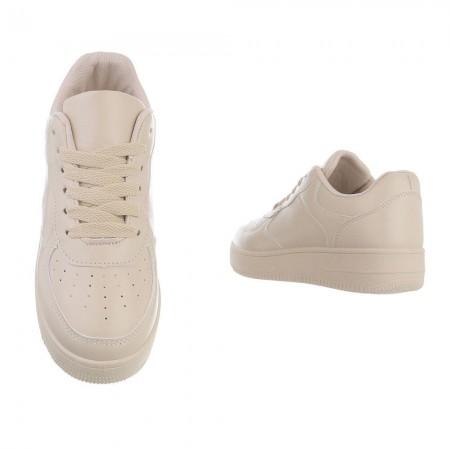 Sneakers in simil pelle con zeppa bassa platform tinta unita con lacci