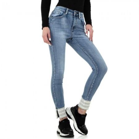 Jeans chiari stinti skinny elasticizzati effetto push up con applicazioni sulle caviglie