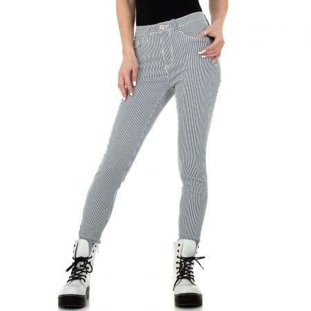 Pantaloni jeans a righe eleganti classici skinny effetto push up da ufficio