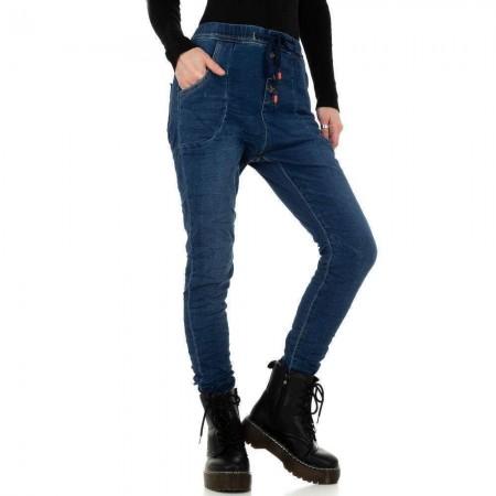 Pantaloni sportivi jeans vita alta denim stinti jogger con laccio in vita