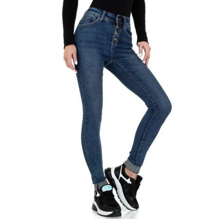 Jeans denim vita alta effetto scambiato push up skinny chiusura con bottoni