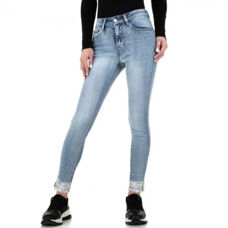 Jeans denim pantaloni chiari stinti slim fit skinny push up con paillettes alla caviglia