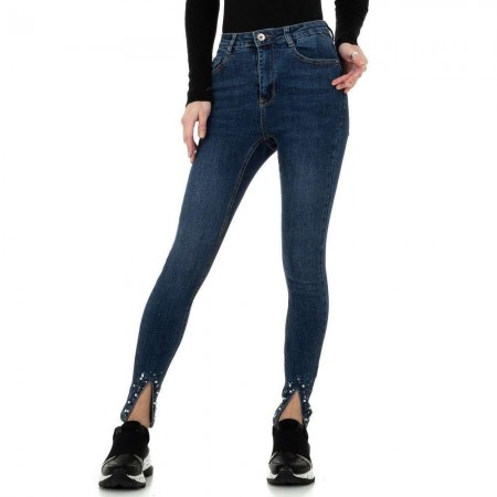 Jeans skinny slim fit elasticizzati effetto push up vita alta con strass e perline