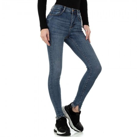 Pantaloni jeans a vita alta skinny elasticizzati denim push up perline strass